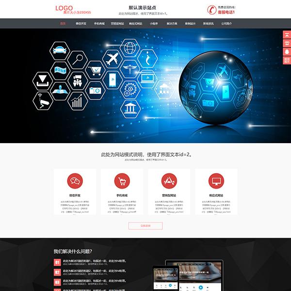 网站服务营销红色主题